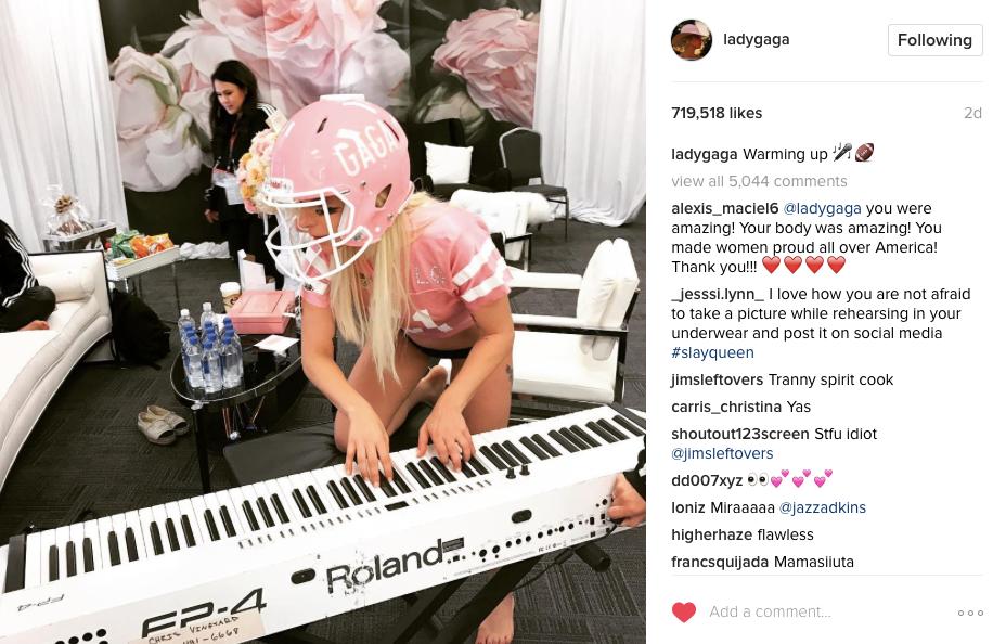 Lady Gaga Super Bowl Instagram